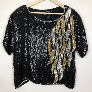 Vintage Tops - =VINTAGE=SEQUIN BEADED BLOUSE M